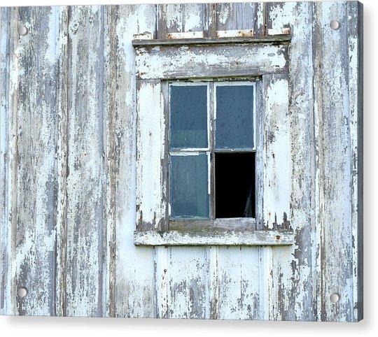 Blue Window In Weathered Wall Acrylic Print