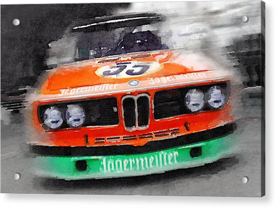 Bmw Front End Watercolor Acrylic Print