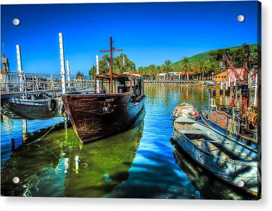 Boats At Kibbutz On Sea Galilee Acrylic Print