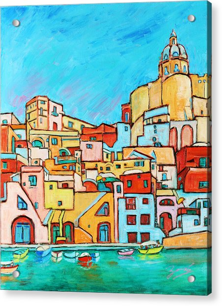Boats In Front Of The Buildings Vii Acrylic Print
