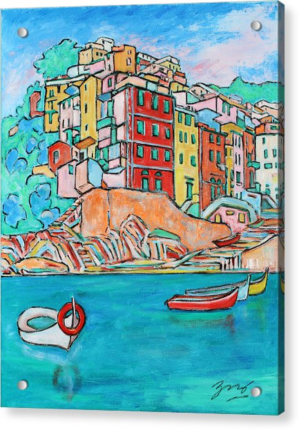 Boats In Front Of The Buildings X Acrylic Print