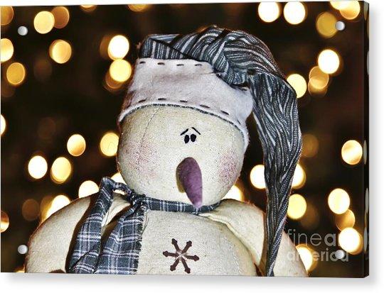 Bokeh Snowman Acrylic Print