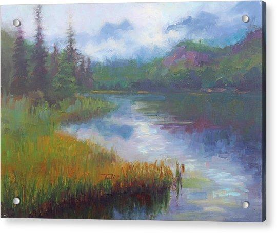 Acrylic Print featuring the painting Bonnie Lake - Alaska Misty Landscape by Talya Johnson