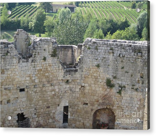 Bordeaux Castle Ruins With Vineyard Acrylic Print