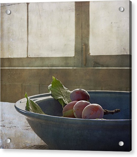 Acrylic Print featuring the photograph Bowl Full Of Plums by Sally Banfill