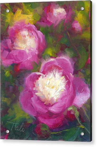 Acrylic Print featuring the painting Bowls Of Beauty - Alaskan Peonies by Talya Johnson