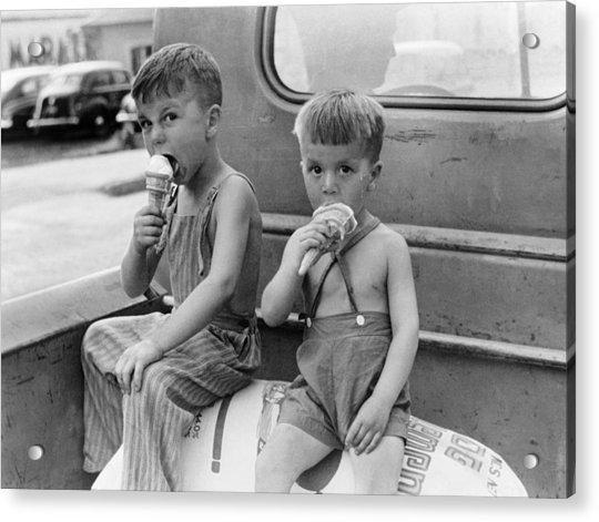 Boys Eating Ice Cream Cones Acrylic Print