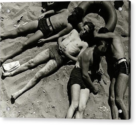 Boys Lying On The Beach At Coney Island In New Acrylic Print