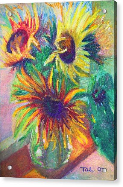 Acrylic Print featuring the painting Brandy's Sunflowers - Still Life On Windowsill by Talya Johnson
