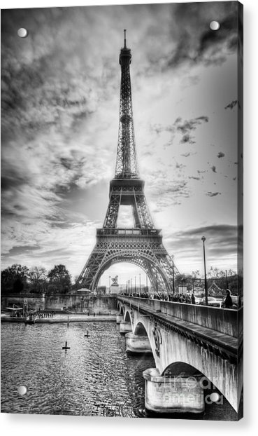 Bridge To The Eiffel Tower Acrylic Print