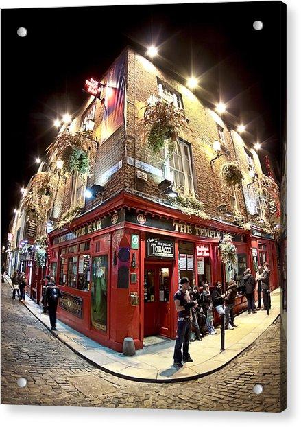 Bright Lights Of Temple Bar In Dublin Ireland Acrylic Print