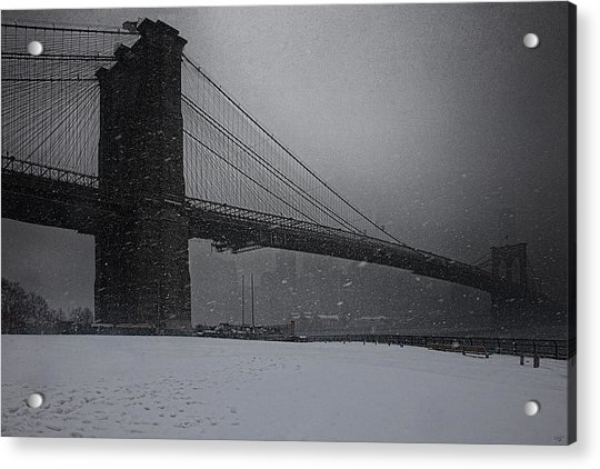 Acrylic Print featuring the photograph Brooklyn Bridge Blizzard by Chris Lord