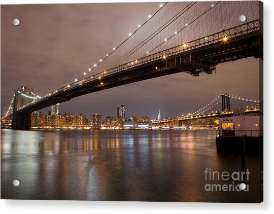 Brooklyn Bridge Lights Acrylic Print