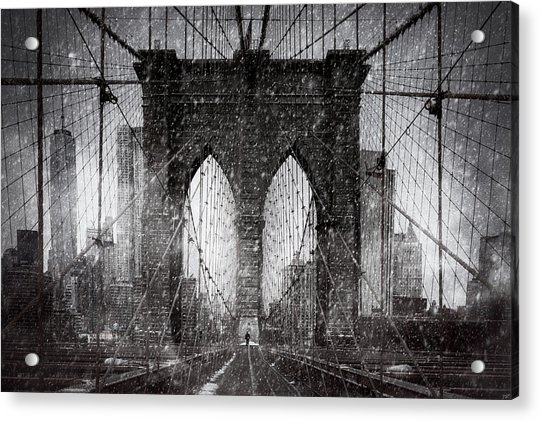 Acrylic Print featuring the photograph Brooklyn Bridge Snow Day by Chris Lord