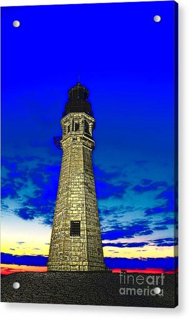 Buffalo Harbor Lighthouse At Sunset Acrylic Print