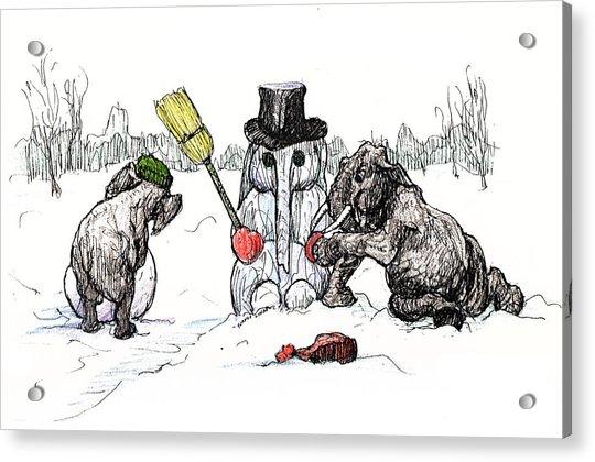 Building A Snow Elephant Acrylic Print