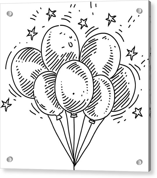 Bunch Of Balloons Drawing Acrylic Print by LEOcrafts