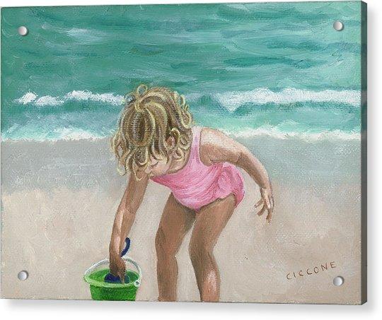 Busy Beach Girl Acrylic Print