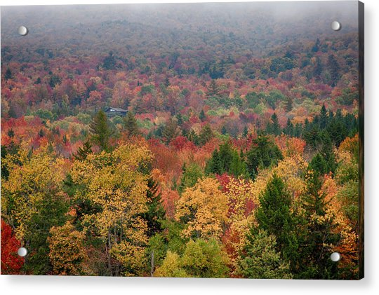 Cabin In Vermont Fall Colors Acrylic Print