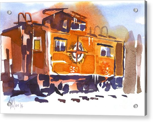 Caboose In Snow And Ice Acrylic Print