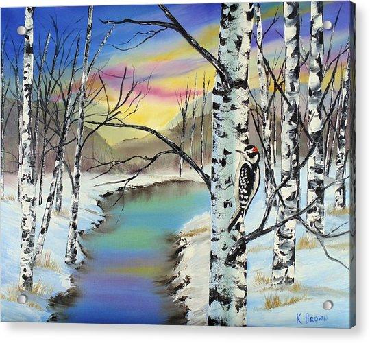 Camouflage Woodpecker Acrylic Print
