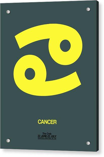 Cancer Zodiac Sign Yellow Acrylic Print
