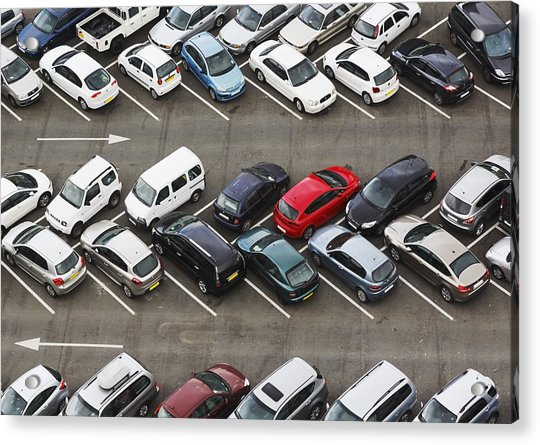 Carpark Viewed From Above With Cars Acrylic Print