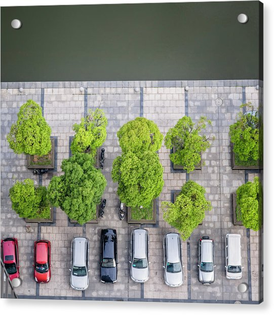 Cars On A Parking Lot Acrylic Print by Chinaface