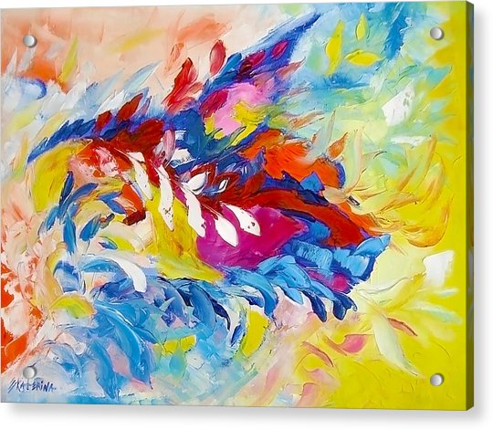 Cat Panther Painting Abstract Art Bright Colors Acrylic Print