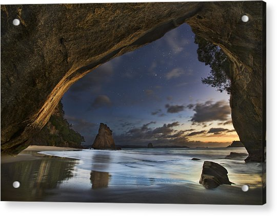 Cathedral Cove Acrylic Print by Yan Zhang