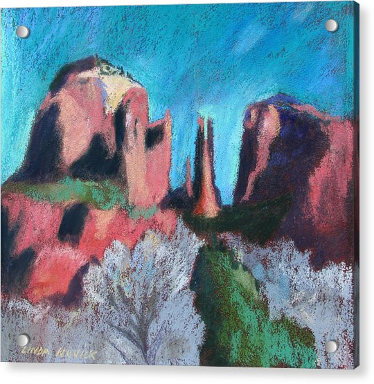 Cathedral Rock With Gray Trees Acrylic Print