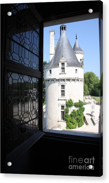 Chateau Chenonceau Tower Through Open Window  Acrylic Print by Christiane Schulze Art And Photography