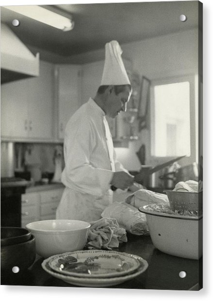 Chef Cooking At Elizabeth Arden's Maine Chance Acrylic Print