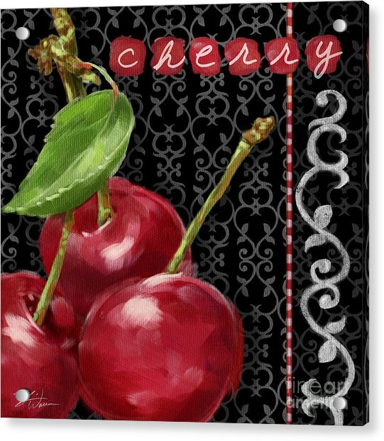 Cherry On Black And White Acrylic Print
