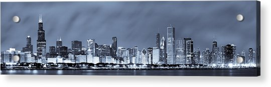 Chicago In Blue Acrylic Print