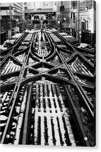Chicago 'l' Tracks Winter Acrylic Print