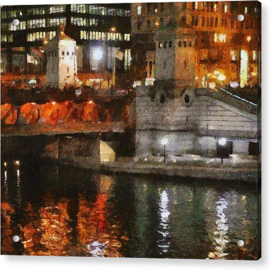 Chicago River At Michigan Avenue Acrylic Print
