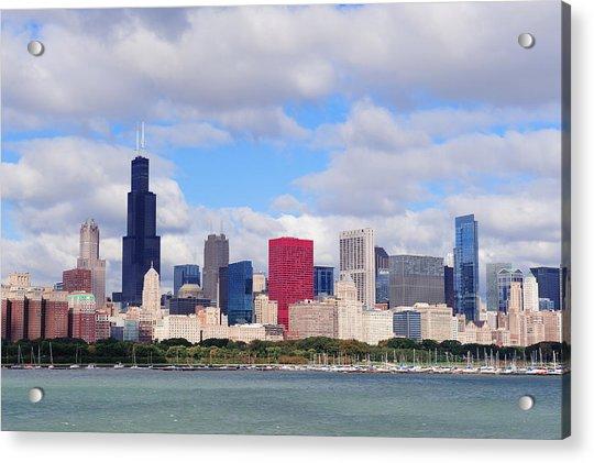 Chicago Skyline Over Lake Michigan Acrylic Print
