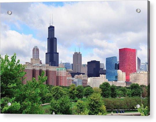 Chicago Skyline Over Park Acrylic Print