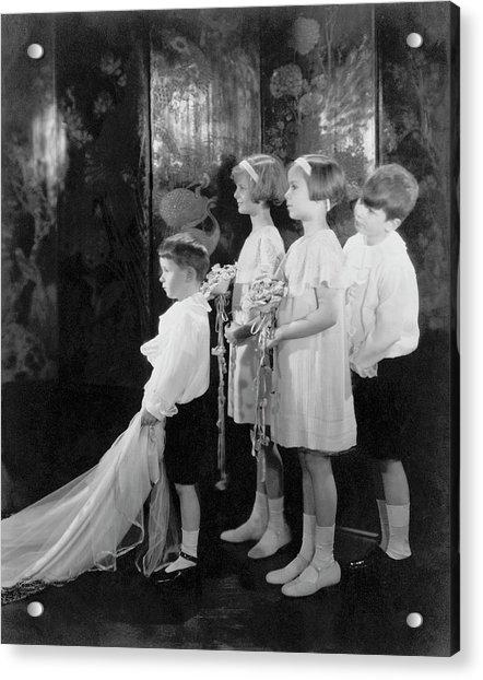 Children In A Wedding Procession Acrylic Print by Edward Steichen