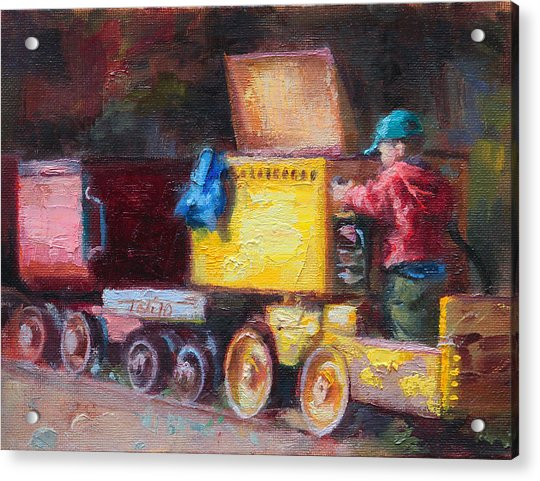 Acrylic Print featuring the painting Child's Play - Gold Mine Train by Talya Johnson
