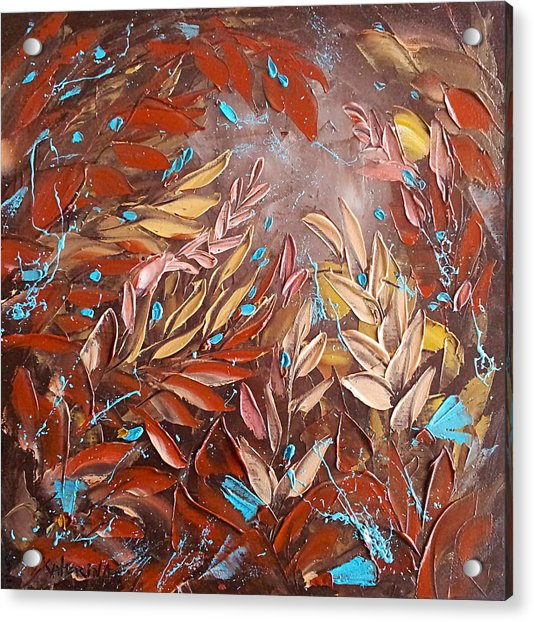 Chocolate And Turquoise Abstract Art Oil Painting By Ekaterina Chernova Acrylic Print
