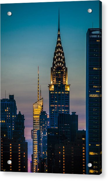 Acrylic Print featuring the photograph Chrysler Building At Sunset by Chris Lord