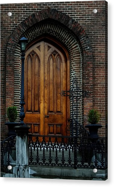 Church Arch And Wooden Door Architecture Acrylic Print