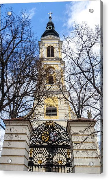 Church Tower With Wrought Iron Gate  Grossweikersdorf Austria Acrylic Print