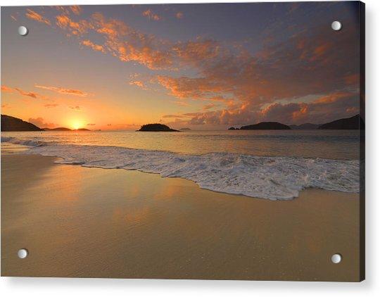 Cinnamon Bay Sunset Reflections Acrylic Print by Stephen  Vecchiotti