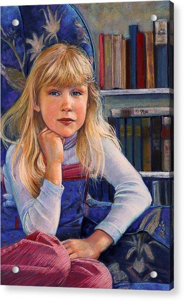 Girl In Wingback Chair Acrylic Print