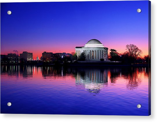 Clear Blue Morning At The Jefferson Memorial Acrylic Print