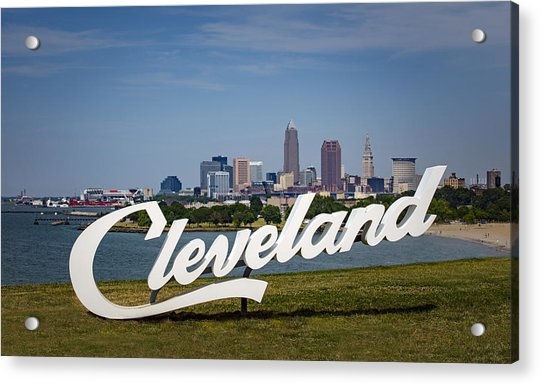 Cleveland Sign And Skyline Acrylic Print by Photo by Mike Kline (notkalvin)
