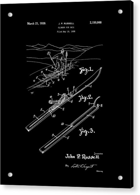 Climber For Skis 1939 Russell Patent Art Acrylic Print